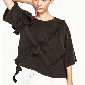 ZARA Black Knit Ruffle Tee Shirt